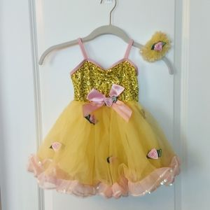 Girl's Yellow & Pink Rose Costume Size XS (4/5)